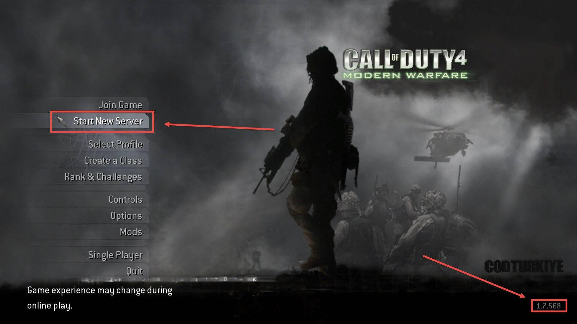 Call of Duty 4 Modern Warfare Start New Server