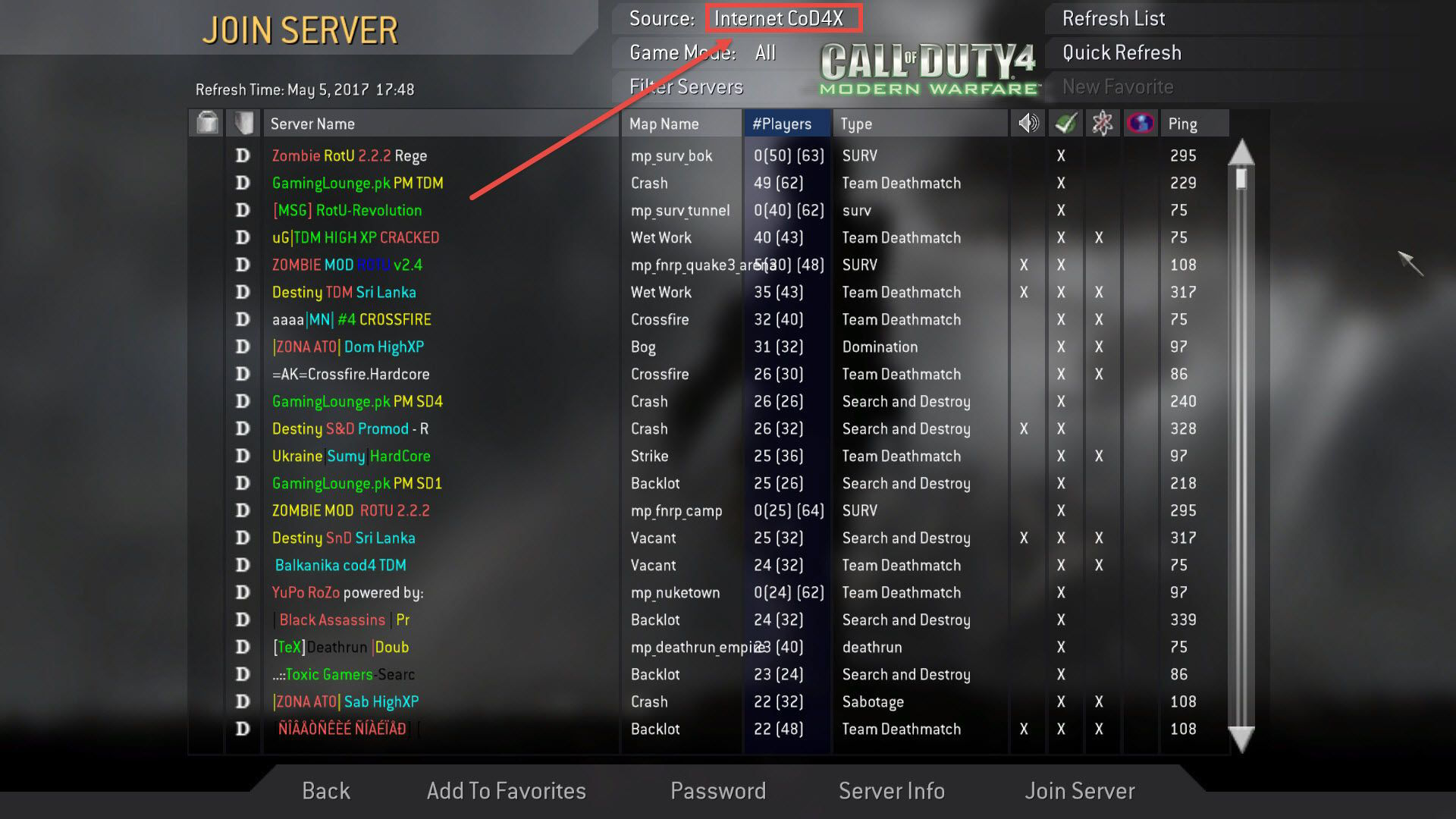 Call of Duty 4 CoD4X Mod Join Server Listesi