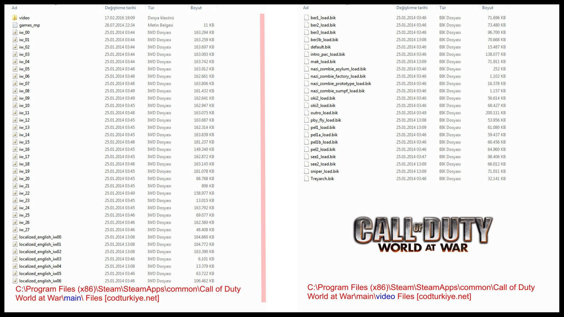 Call of Duty 5 World At War Main ve Video Klasörlerindeki Dosya Özellikleri