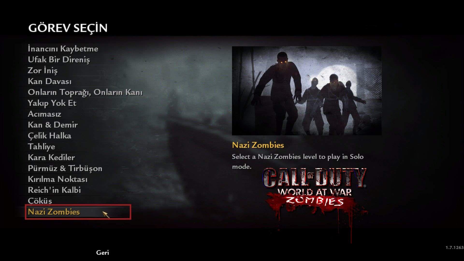 Call of Duty 5 World at War Official Zombie Menüsü