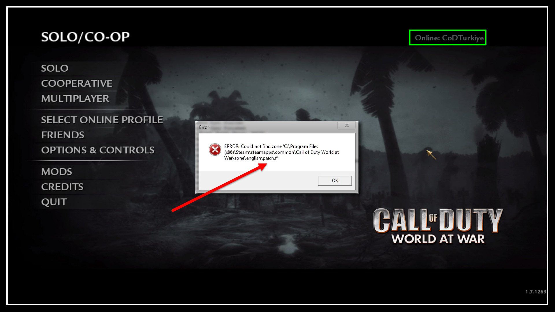 Call of Duty 5 World at War patch.ff Error