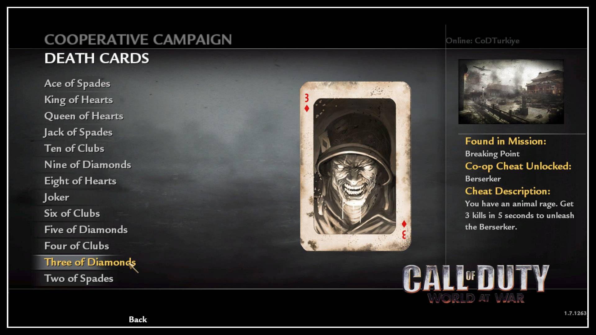 Call of Duty 5 WaW Co-Op Unlock Death Cards