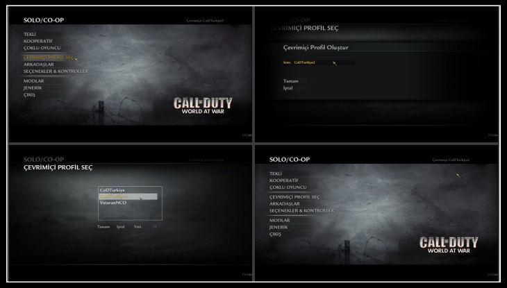 Call of Duty 5 World at War Yeni Profil Oluşturmak