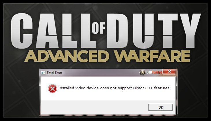 Call of Duty Advanced Warfare Installed Video Device Does Not Support DirectX 11 Features hatası