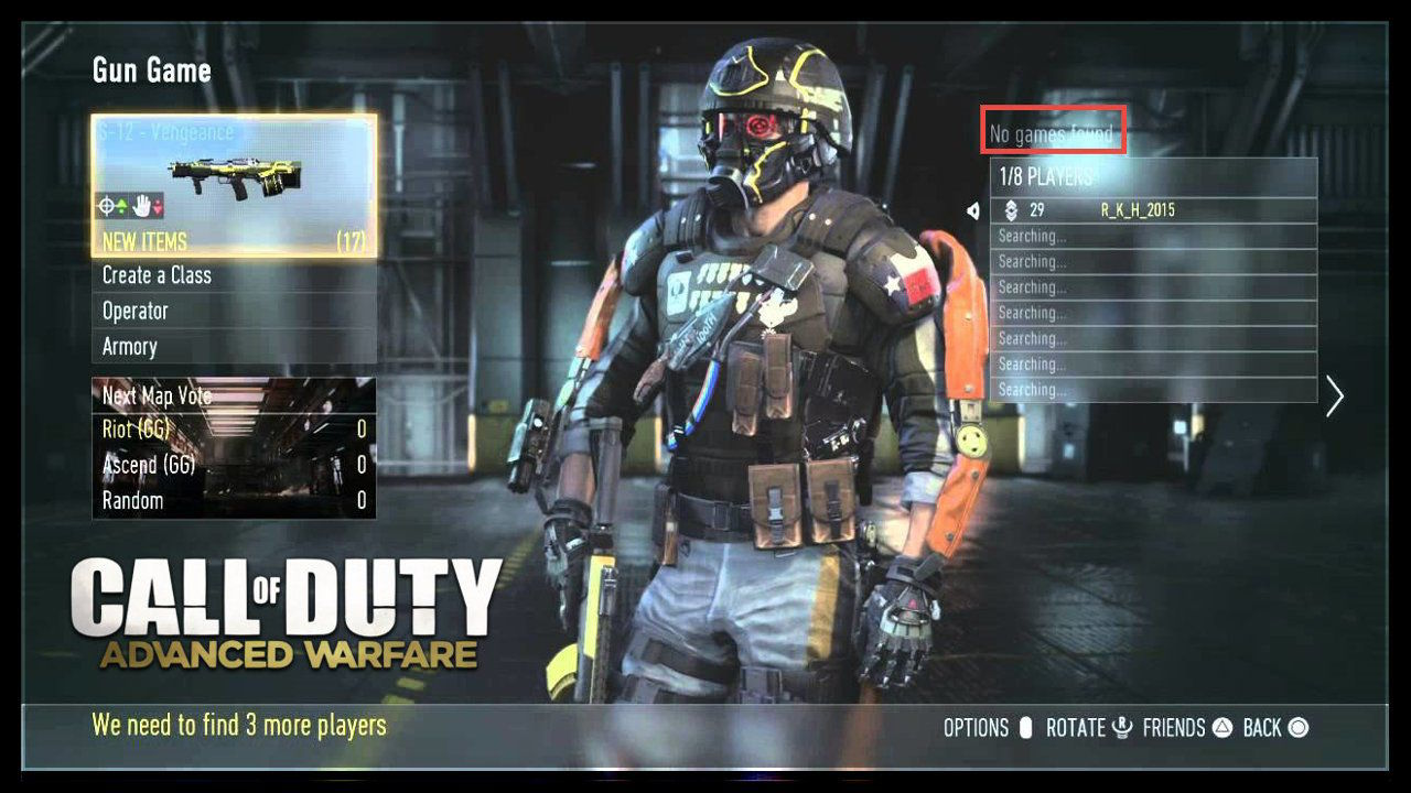 Call of Duty Advanced Warfare Multiplayer No Games Found Error