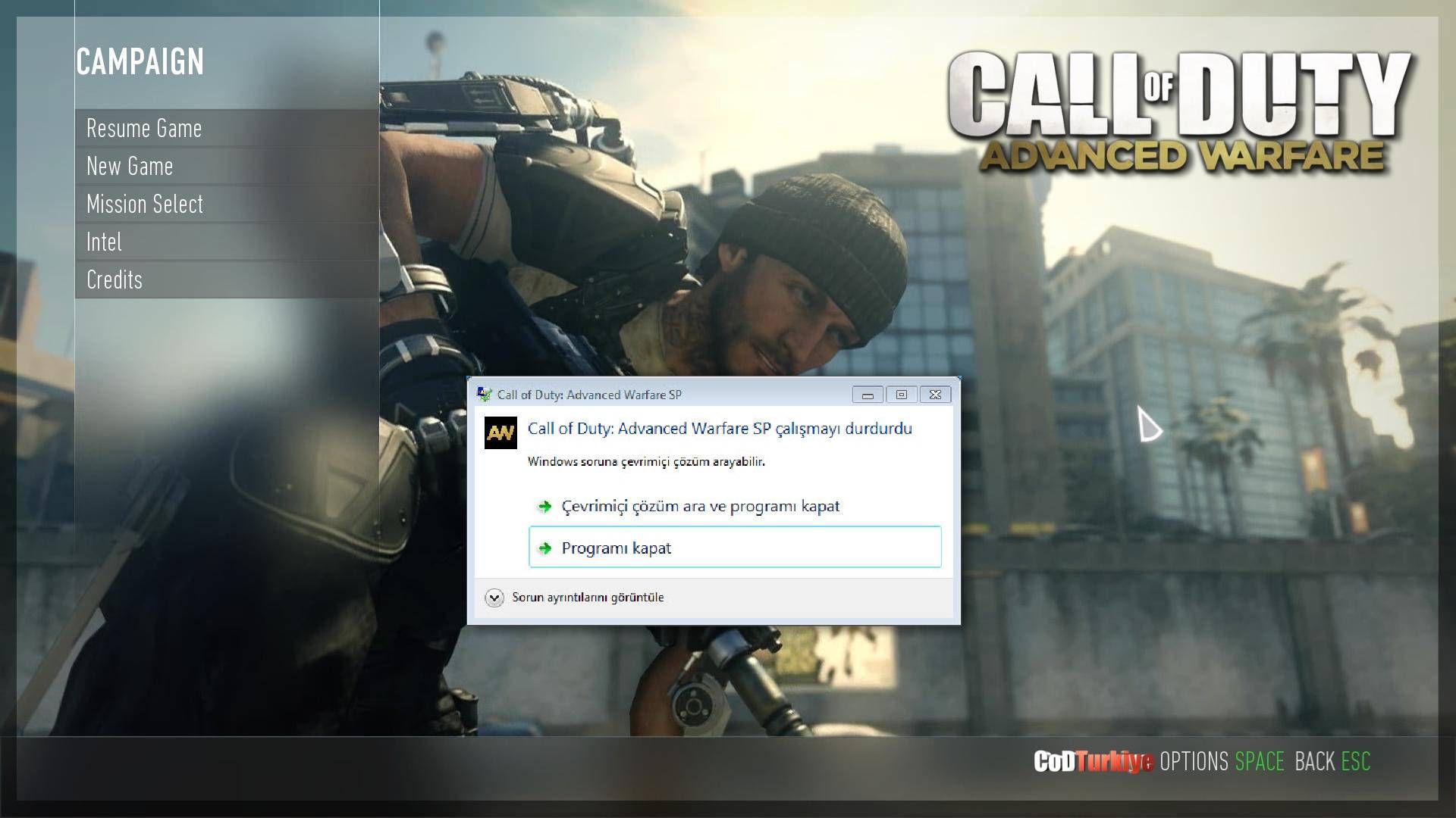 Call of Duty Advanced Warfare s1_sp64_ship.exe Hatası