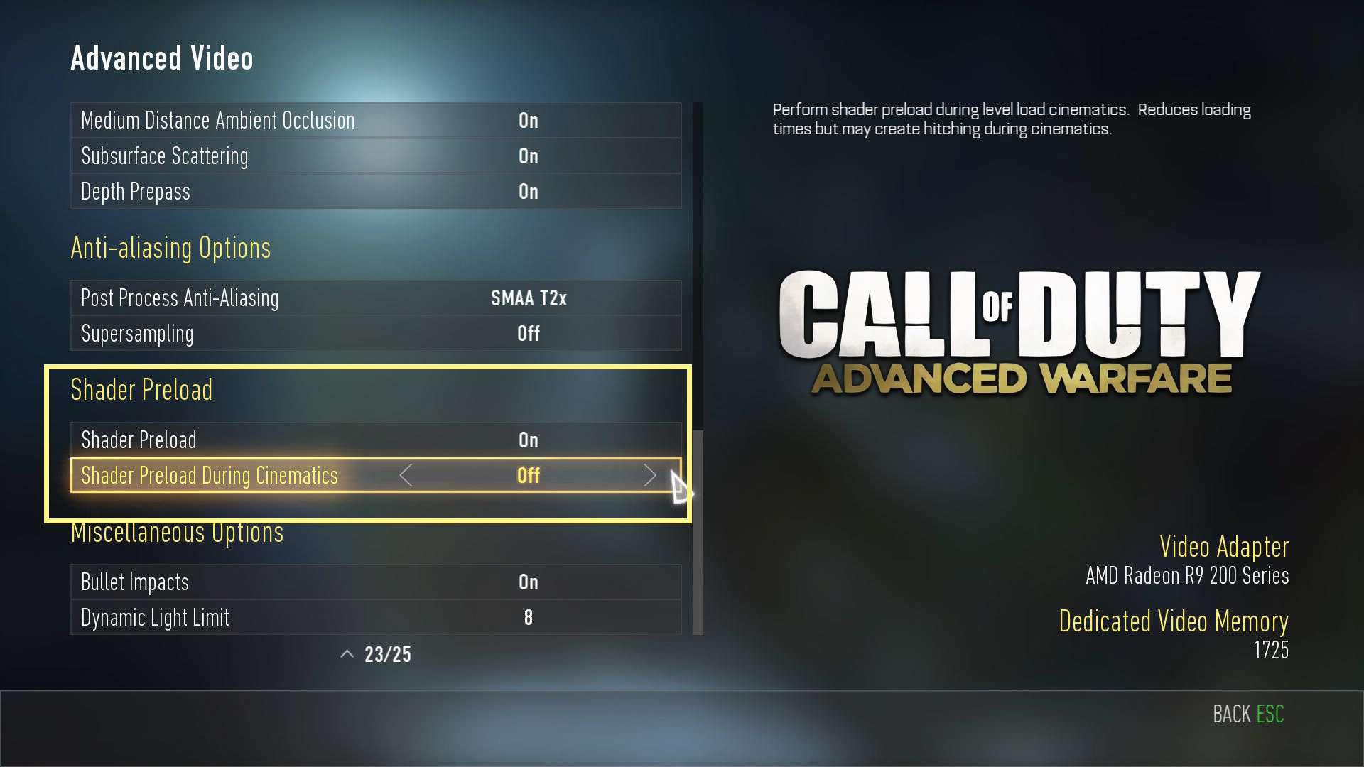 Call of Duty Advanced Warfare Shader Ayarları