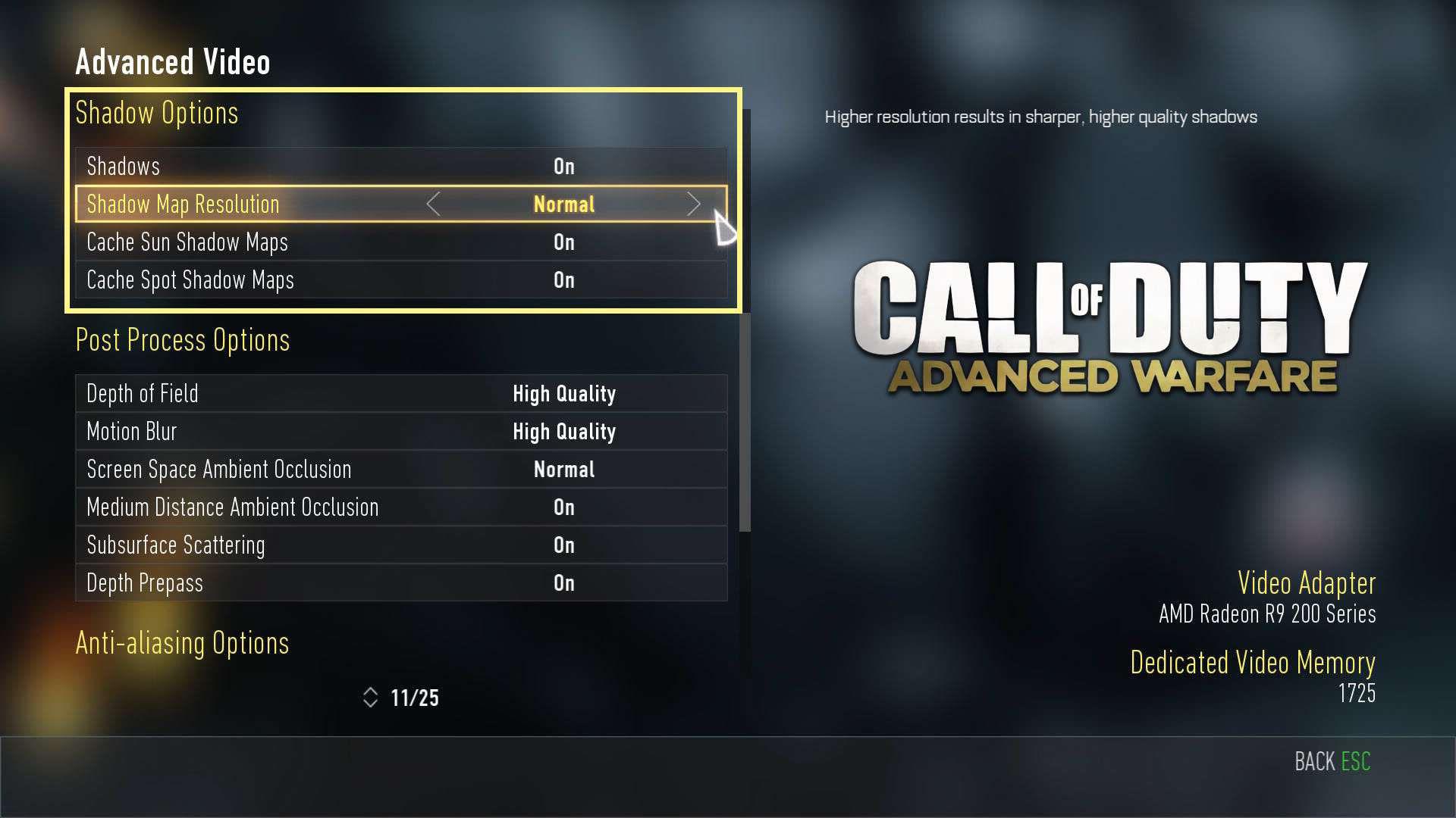 Call of Duty Advanced Warfare Shadow Ayarları