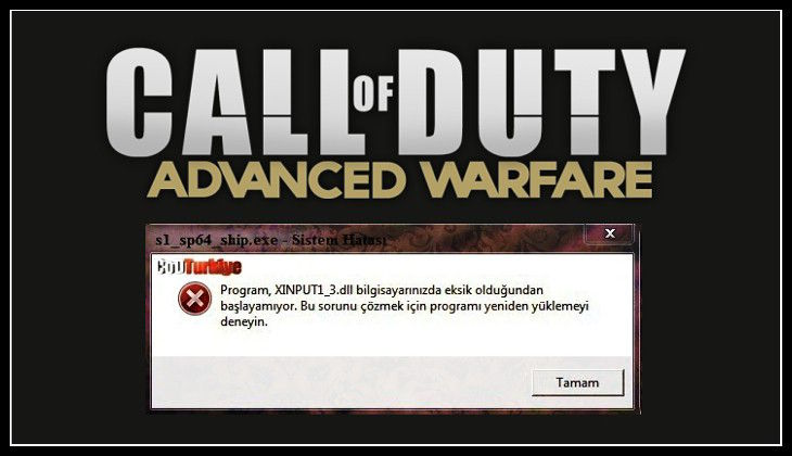 Call of Duty Advanced Warfare XINPUT1_3.dll is Missing From Your Computer Error