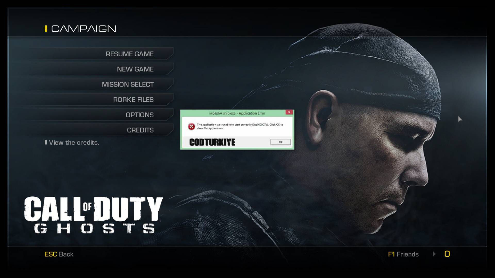 Call of Duty Ghosts (0xc000007b) Hatası