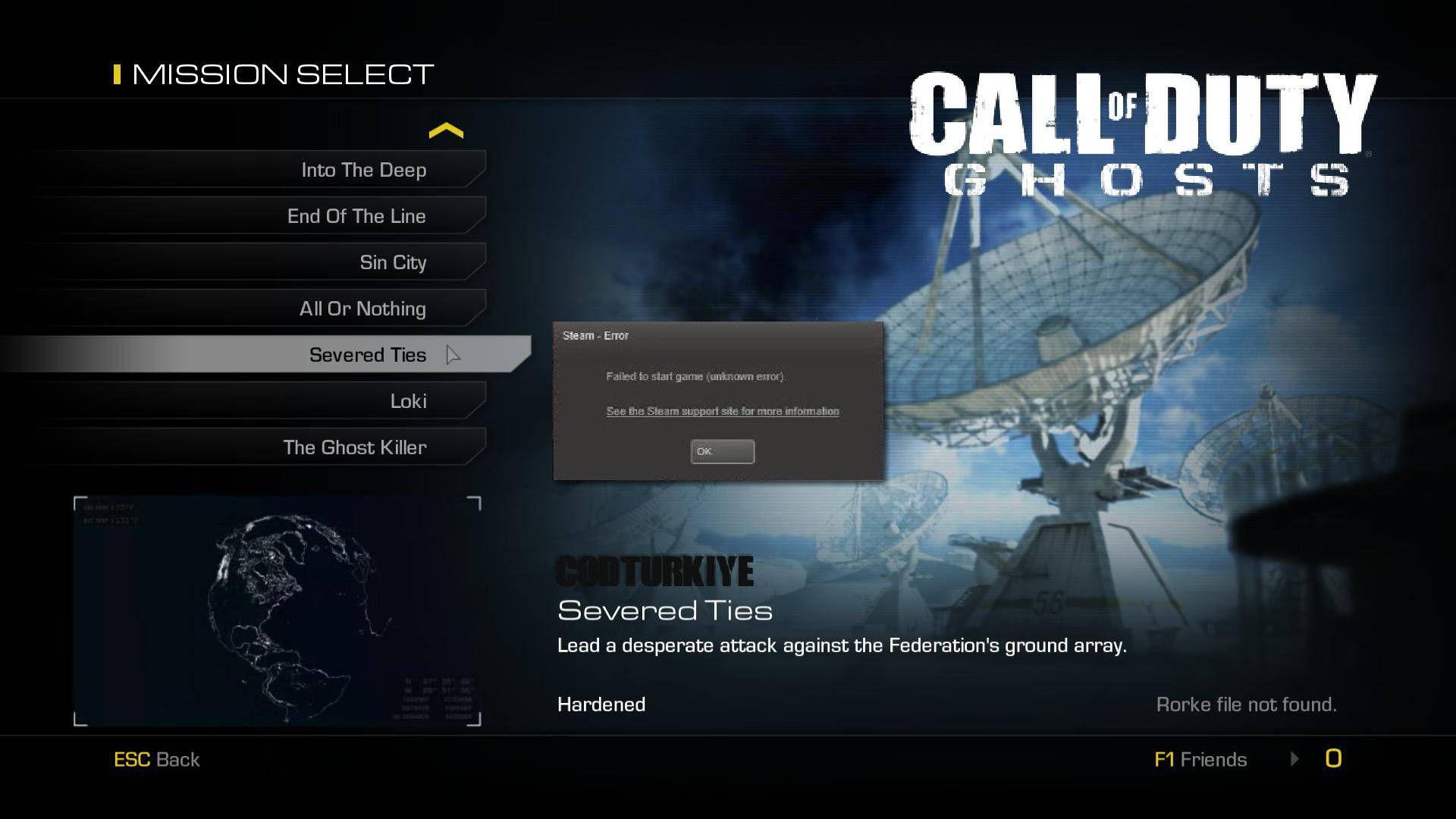 Call of Duty Ghosts Failed to Start Game Unknown Hatası Çözümü