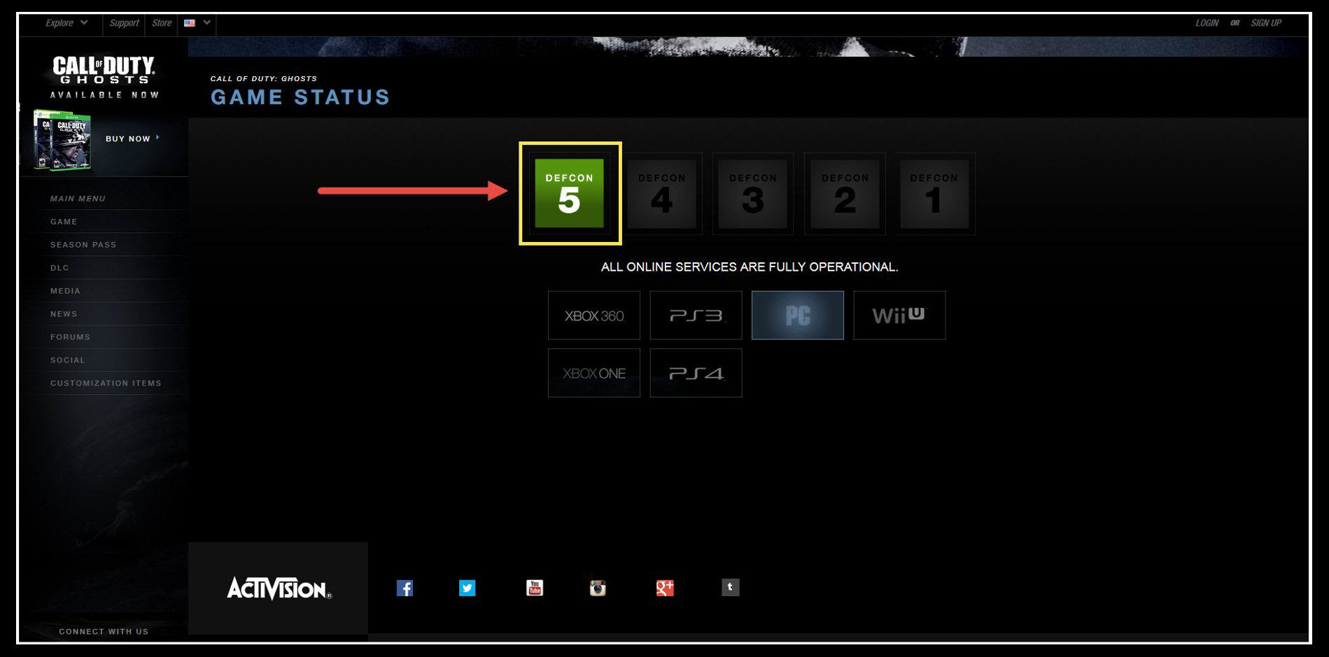 The Call of Duty Ghosts Server is Not Available at This Time