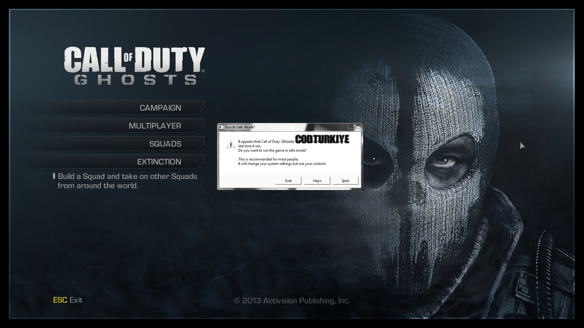 Call of Duty Ghosts Run in Safe Mode Error