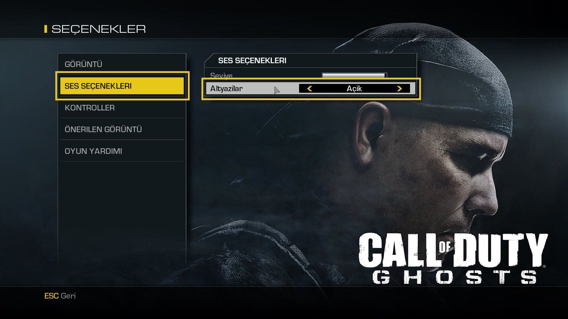 Call of Duty Ghosts TR Yama Dil Sorunu