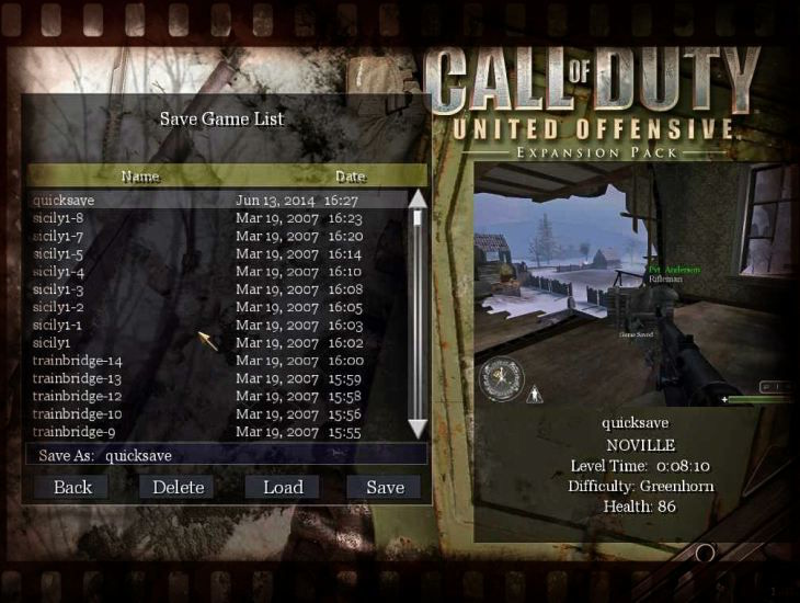 Call of Duty United Offensive Load Save Game