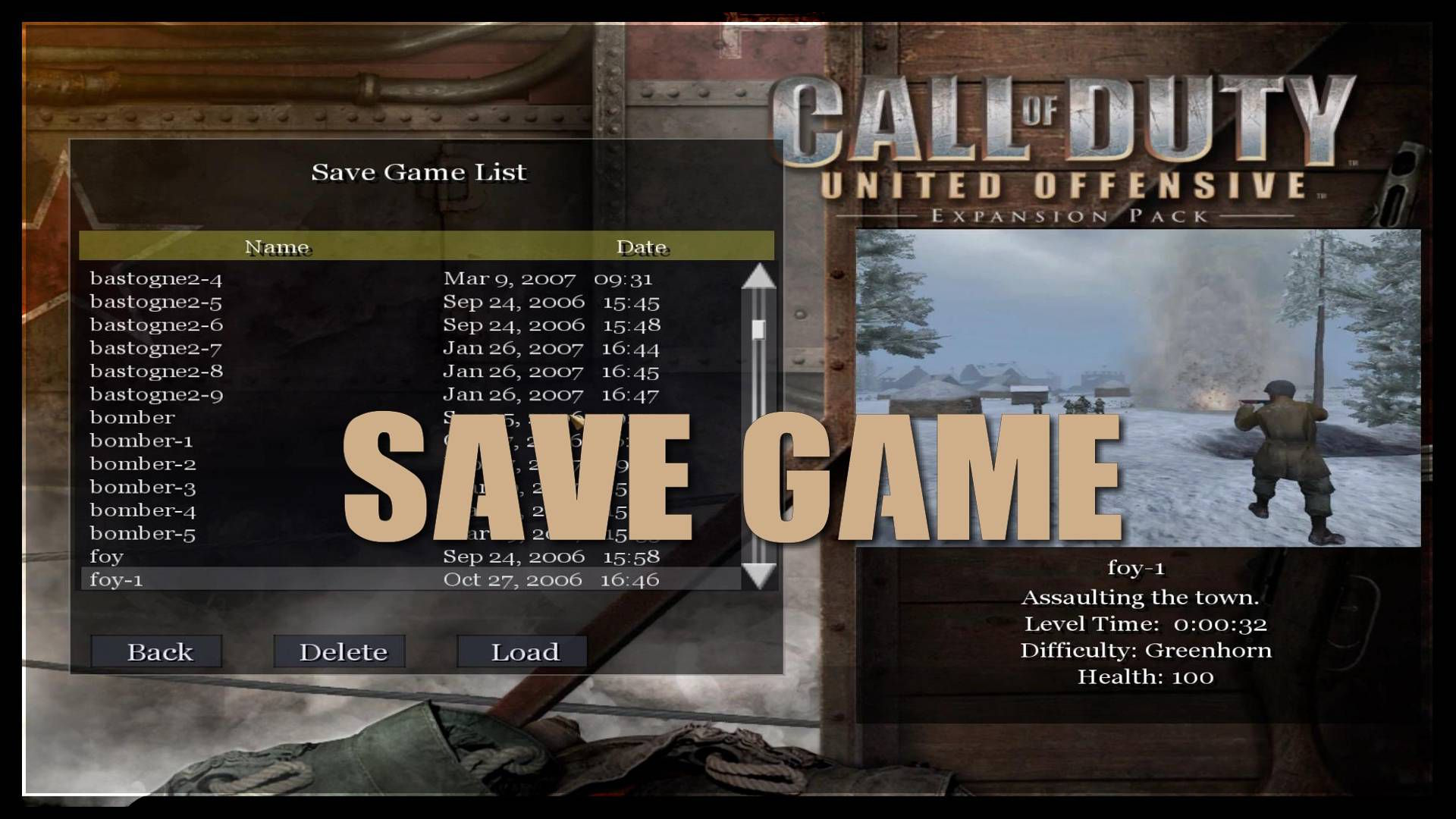 Call of Duty United Offensive Save Game