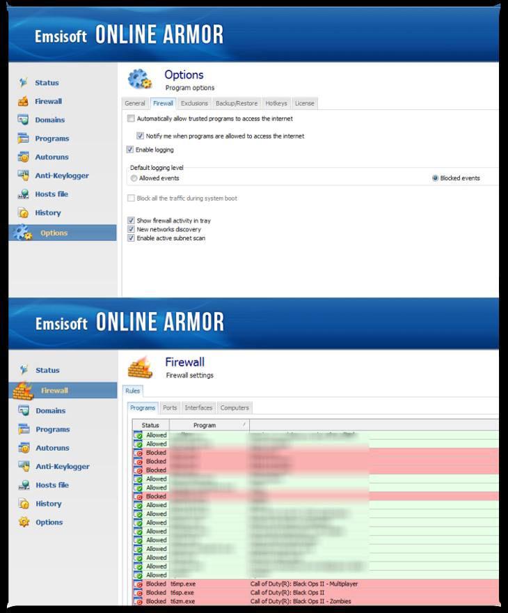 Emsisoft Online Armor Free Ayarlar