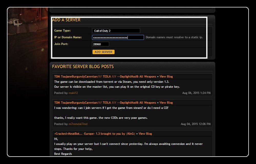 GameTracker Add a Server