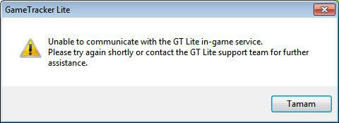 Error: Unable to communicate with the GT Lite in-game service.