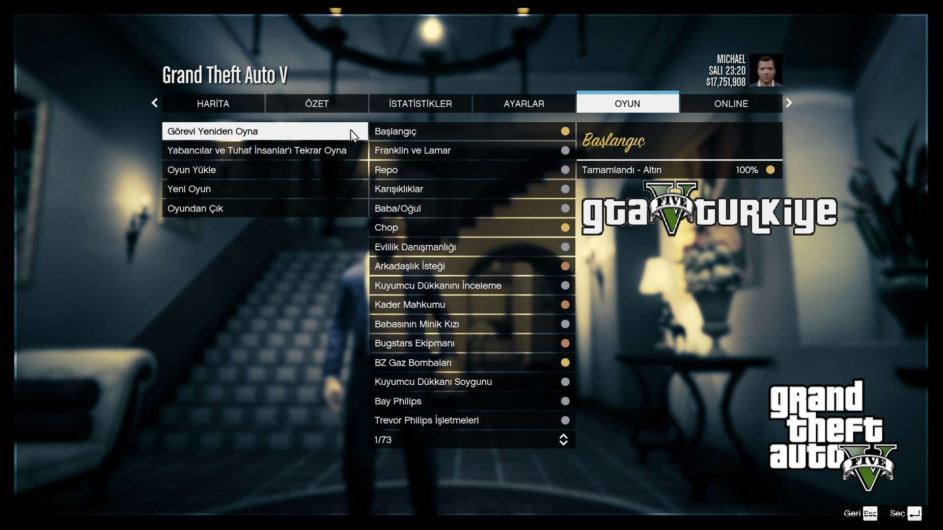GTA 5 Türkçe Yama Menüler