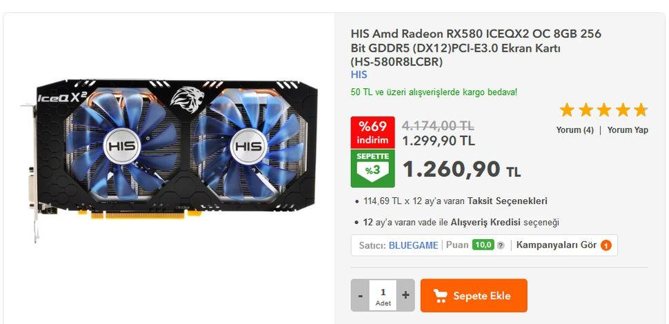HIS Amd Radeon RX580 ICEQX2 OC 8 Gb. 256-Bit GDDR5 DX12 Ekran Kartı
