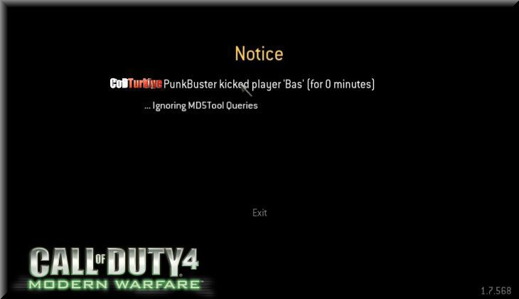 Call of Duty 4 Modern Warfare Punkbuster Kicked Player Ignoring Md5tool Queries