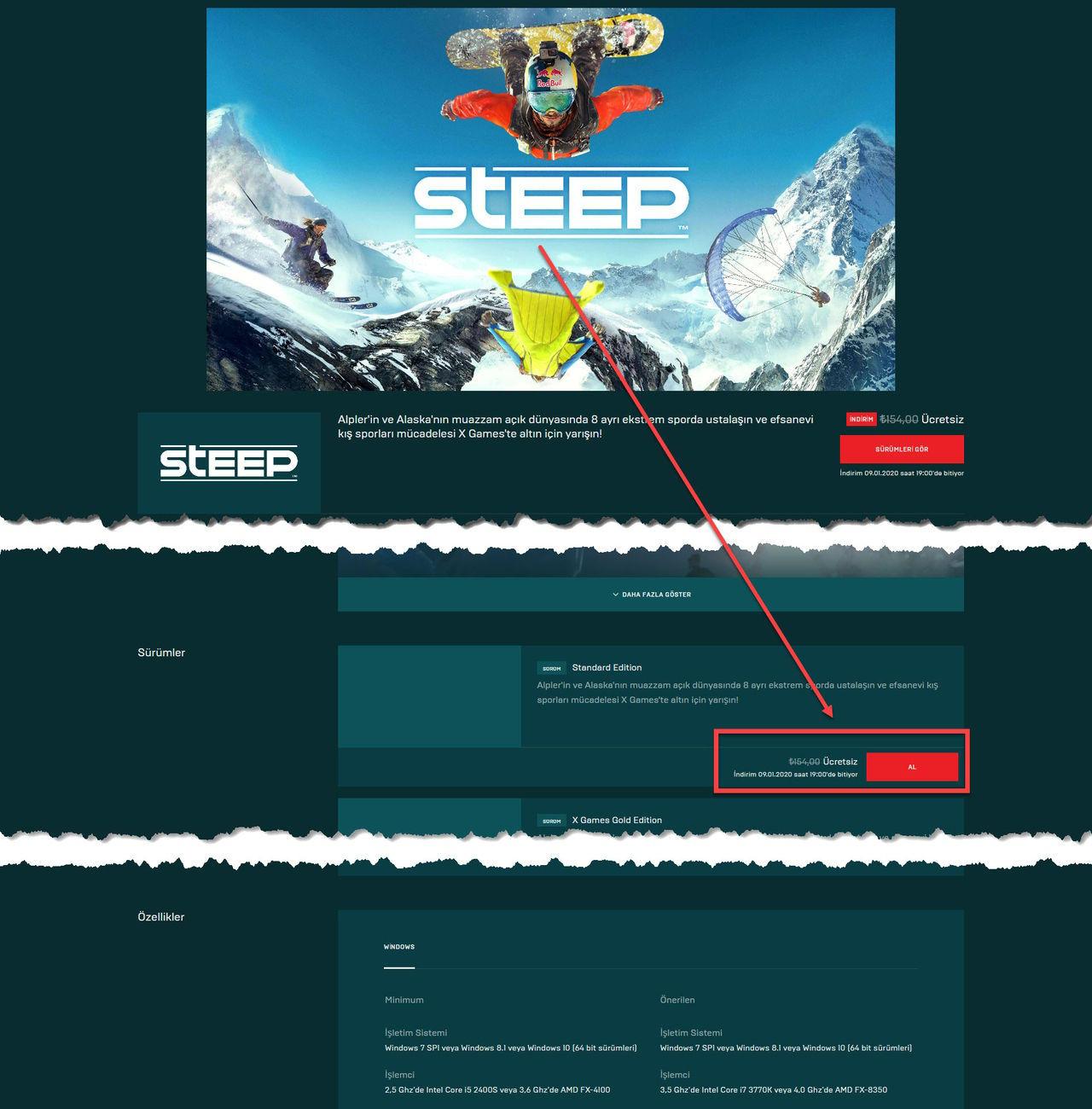 Kayak Oyunun Steep Bedava Oyun Kampanyası
