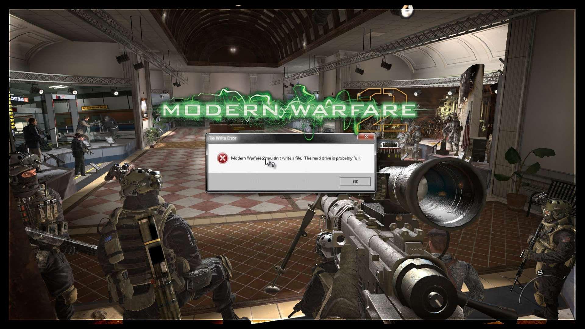 Modern Warfare 2 Couldn't Write a File Error