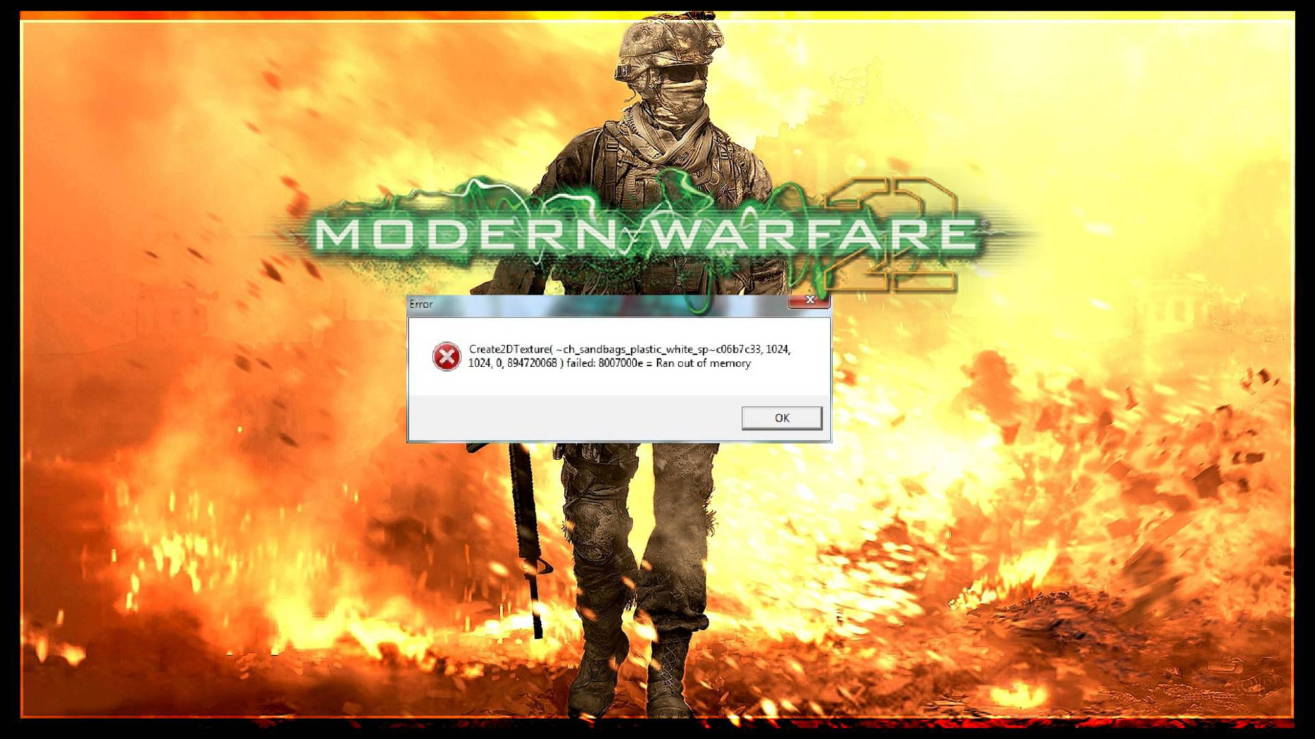 Modern Warfare 2 Create2DTexture Out of Memory Error Hatası