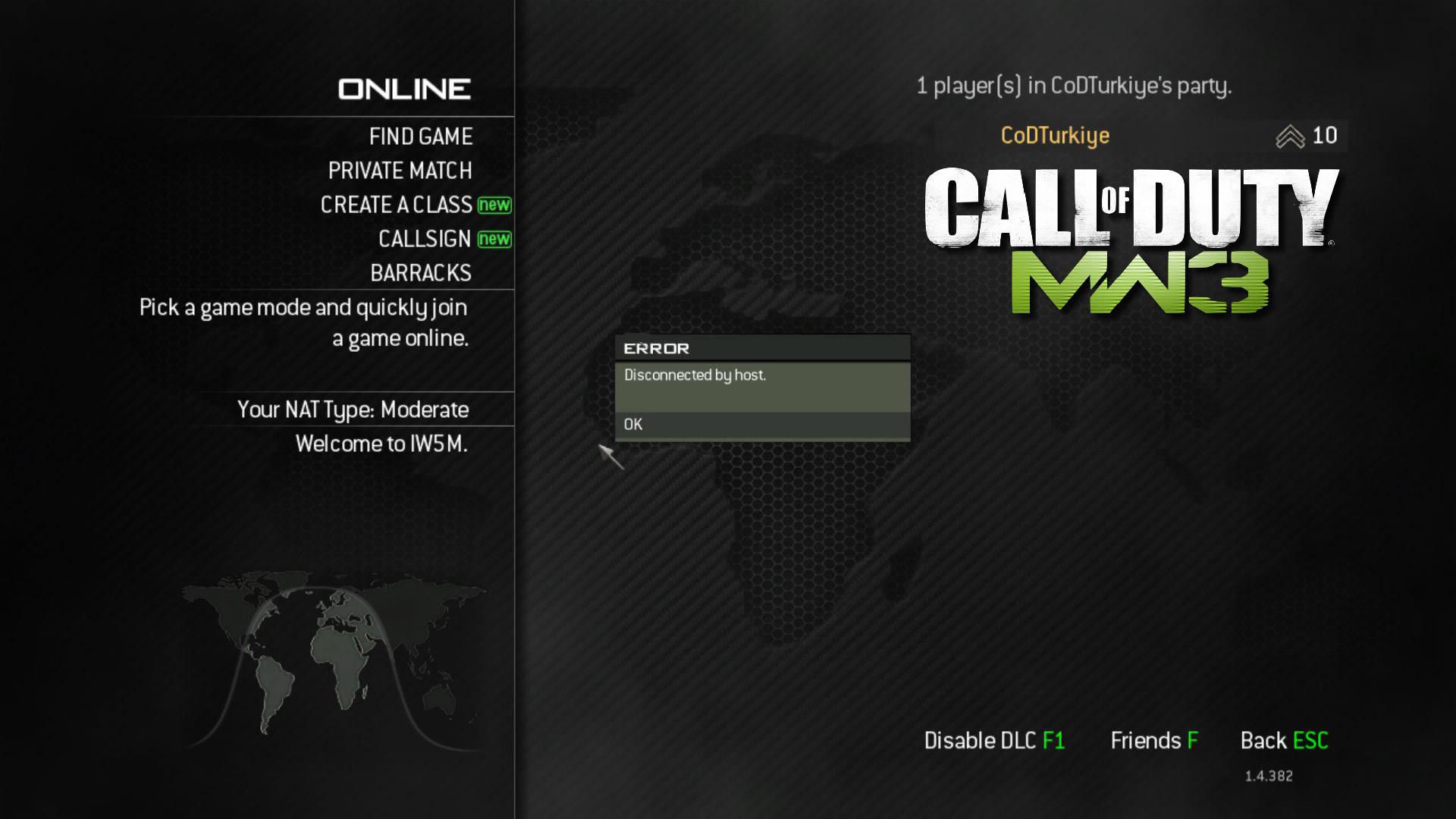 Modern Warfare 3 Disconnected by Host Hatası