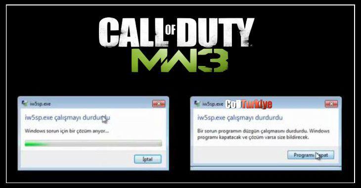 Modern Warfare 3 iw5sp.exe Çalışmayı Durdurdu Hatası