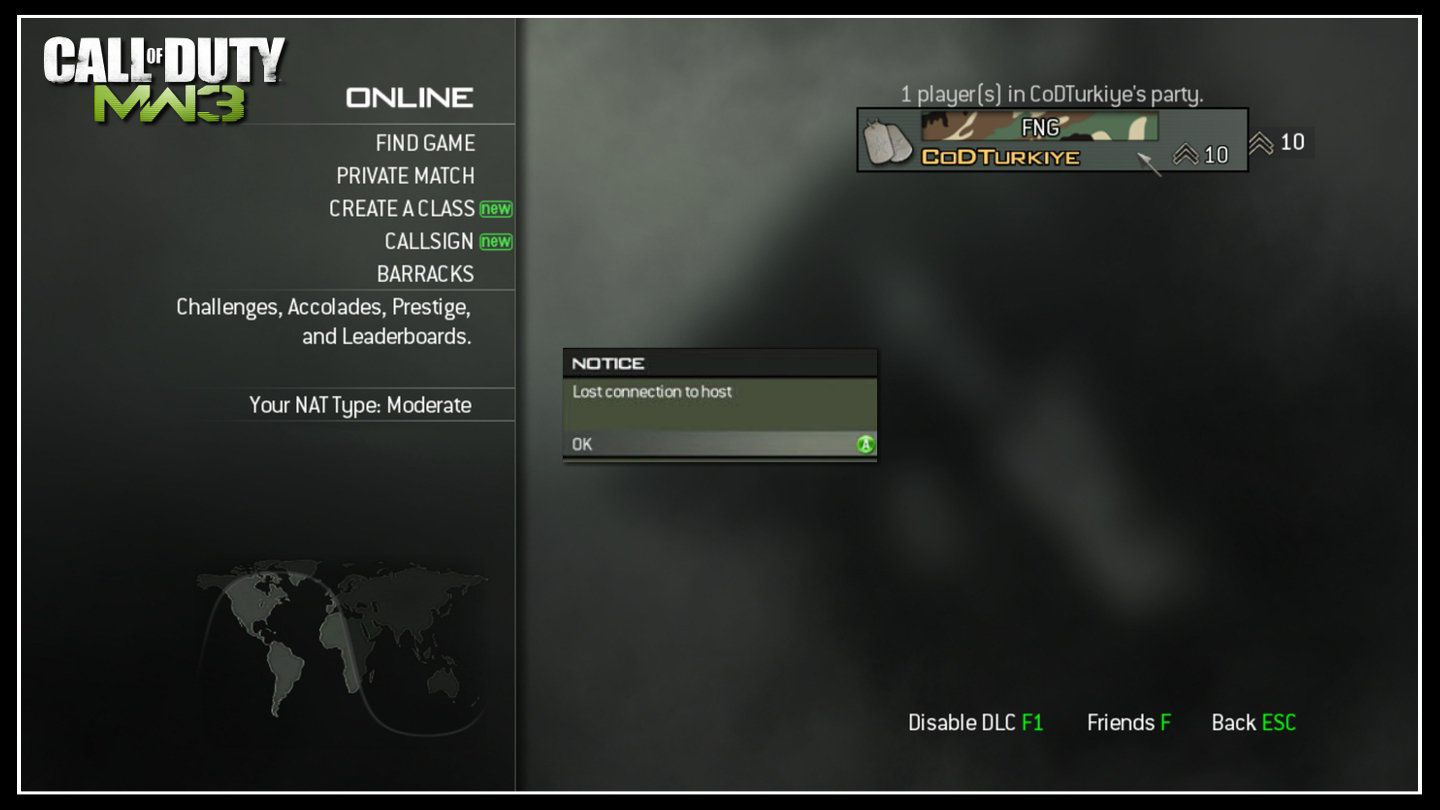 Modern Warfare 3 Lost Connection to Host Error