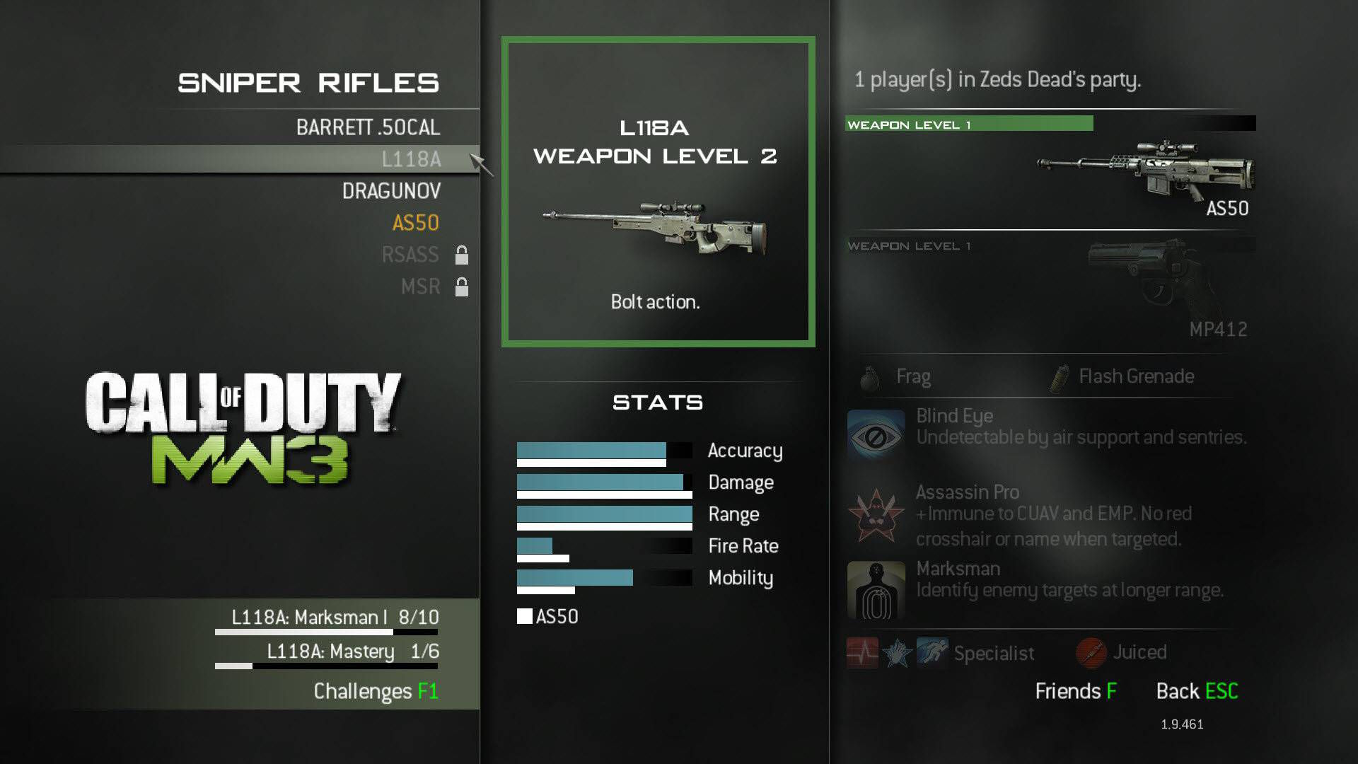 Modern Warfare 3 Sniper Weapon L118A