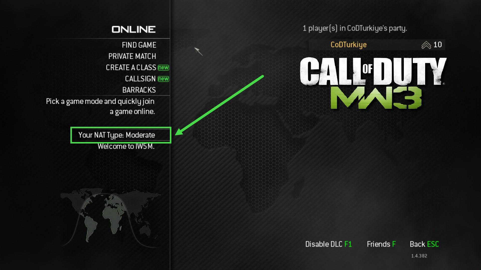 Modern Warfare 3 Your NAT Type