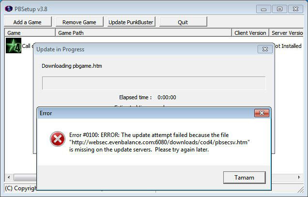 ERROR: The update attemp failed because the file ''http://websec.evenbalance.com:6080/downloads/pbsecsv.htm'' is missing on the update servers. Please try again later.