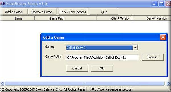Call of Duty 2 Punkbuster Add a Game Oyun Görünmüyor