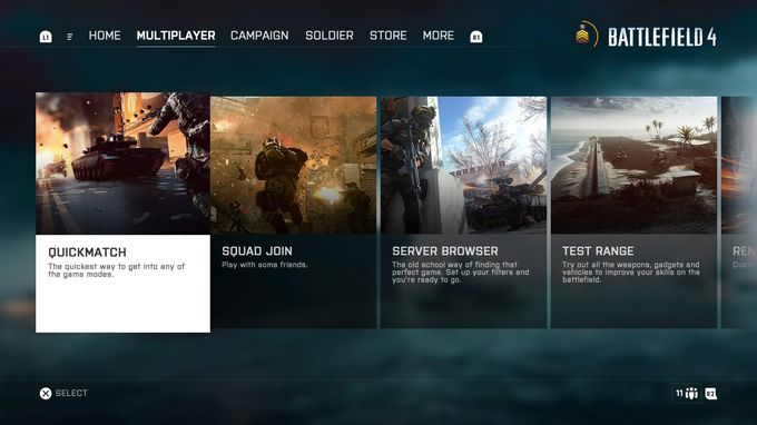Battlefield 4 Multiplayer Menü
