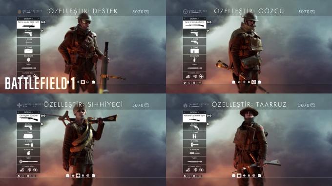 Battlefield 1 Multiplayer Oyuncu Sınıfları