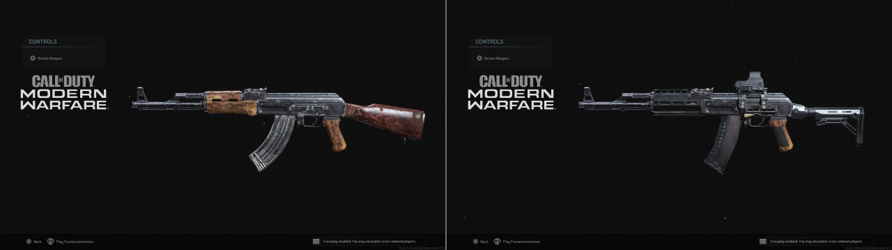 Call of Duty Modern Warfare 2019 Silahlar AK47 ve AK47'den çevirilmiş AK12
