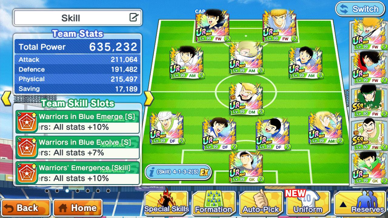 Captain Tsubasa: Dream Team Takım Şekillendirme ve Buff Sistemi