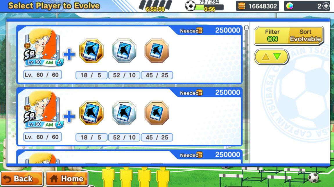 Captain Tsubasa: Dream Team Oyuncu Evrimi (Evolution)