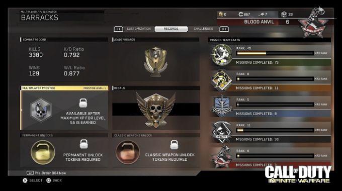 Call of Duty Infinite Warfare Prestige Sistemi