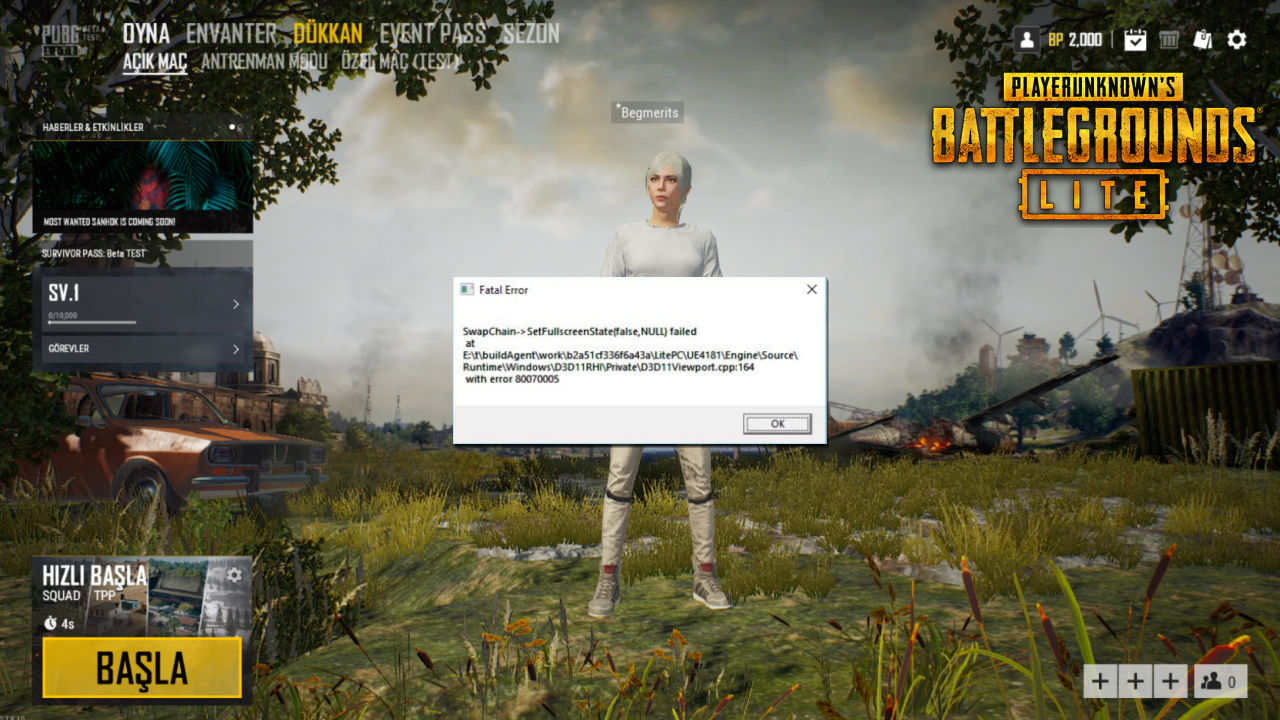 PUBG Lite Fatal Error: SwapChain SetFullscreenState(false,Null) Failed Hatası
