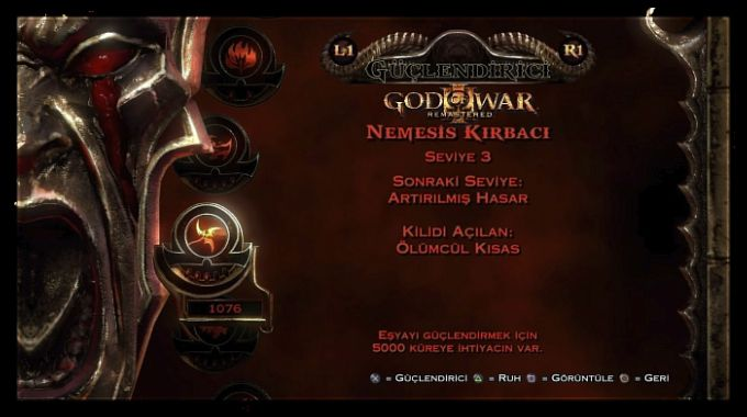 God of War 3 Remastered Kırmızı Küre Sistemi