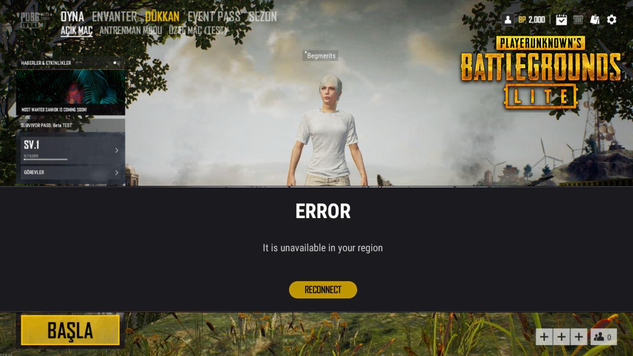 Error: PUBG Lite bölgeniz için uygun değildir. Not available in your region.