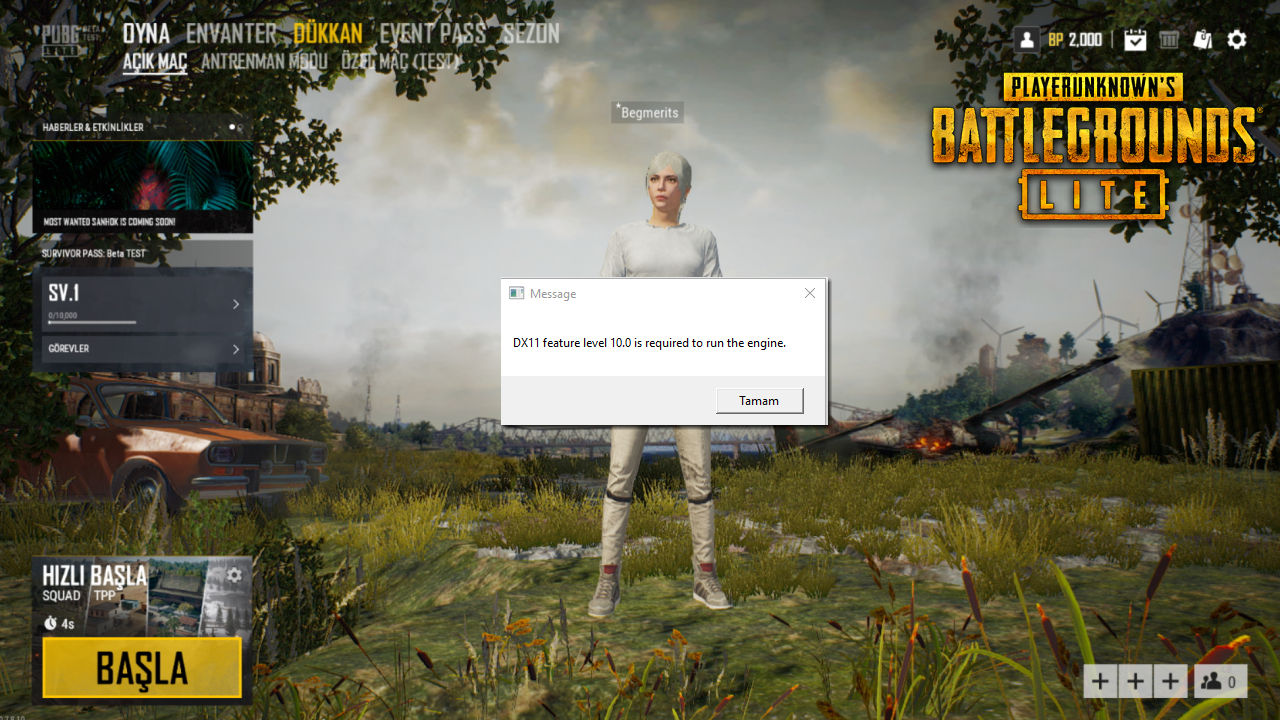PUBG Lite DX11 Feature Level 10.0 is Required to Run The Engine Hatası