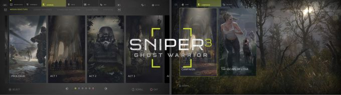 Sniper Ghost Warrior 3 Menüler