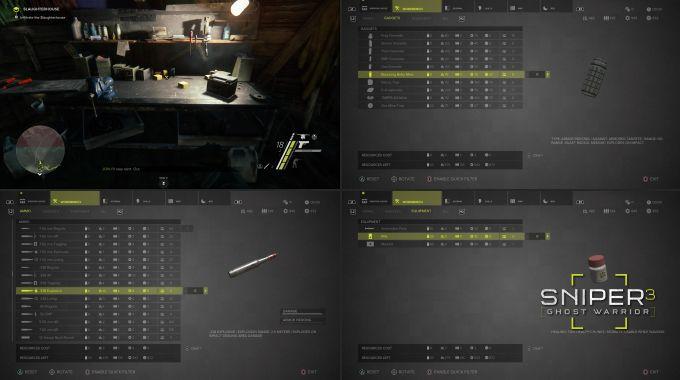 Sniper Ghost Warrior 3 Workbench, Bomba, Mermi, Sağlık Bölümleri