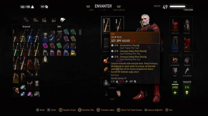 The Witcher 3 Wild Hunt Envanter Bölümü