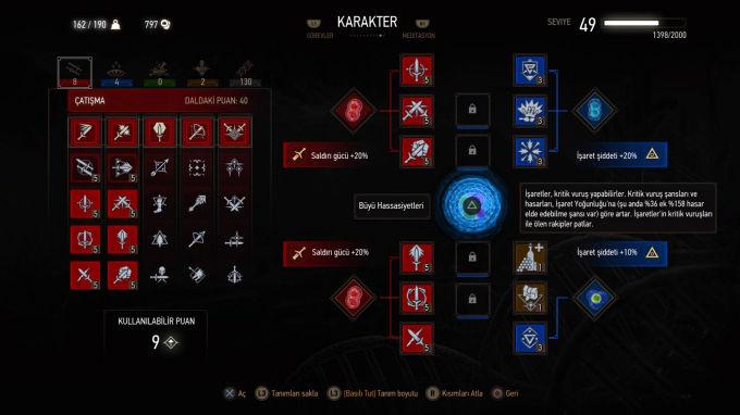 The Witcher 3 Wild Hunt Karakter Geliştirme Bölümü
